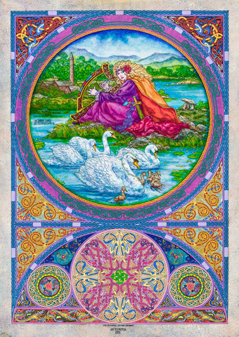 Children Of Lir The Singing Swans by Jim FitzPatrick - Green Gallery