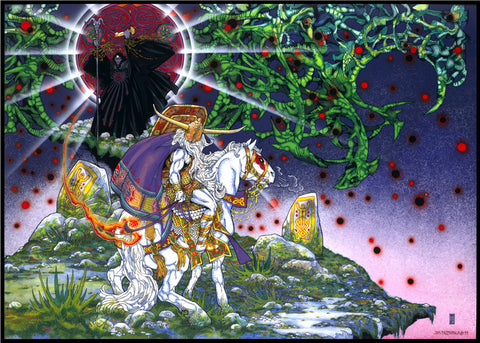 Lugh Faces The Evil Eye by Jim FitzPatrick - Green Gallery