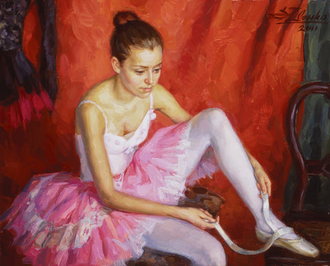 Ballerina with Pink Tutu - Green Gallery