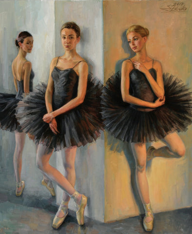 Ballerinas in Black Tutus - Green Gallery