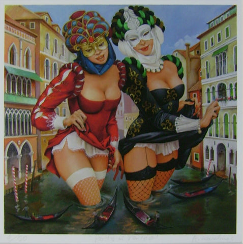 'Party In Venice' canvas print - Green Gallery
