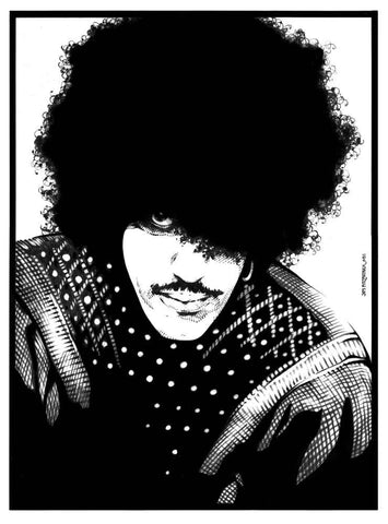 'Phil Lynott Portrait 1981 black and white'