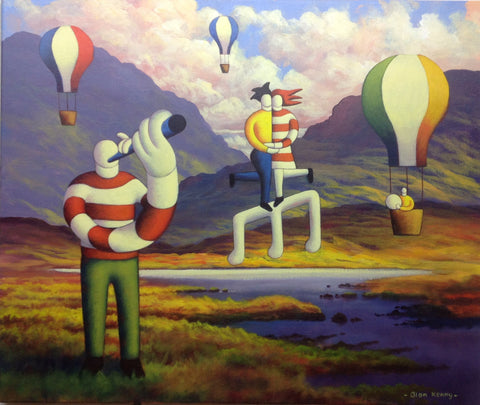 Connemara Landscape with lovers, musicians, and balloons