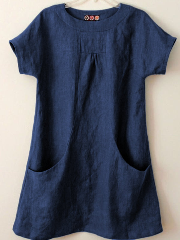 Short Sleeve Pockets Cotton-Blend Shirts & Tops - chiclila.com