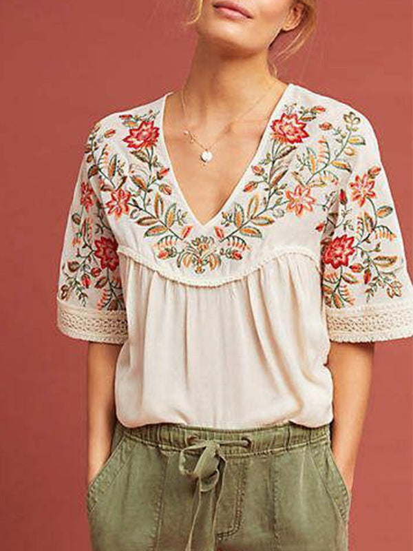 embroid Women Short Sleeve Casual shirt Top - chiclila.com