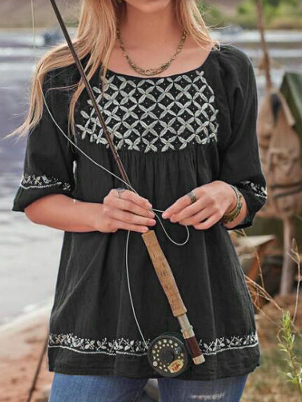 Half Sleeve Casual Cotton-Blend Shirts & Tops - chiclila.com