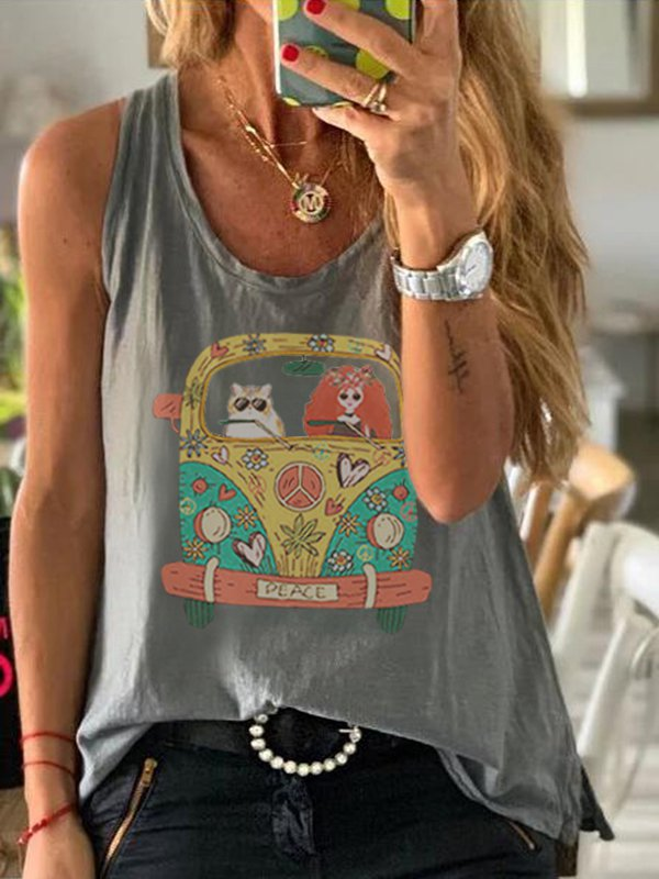Scoop Neck Sleeveless Cartoon Car Print Casual Top