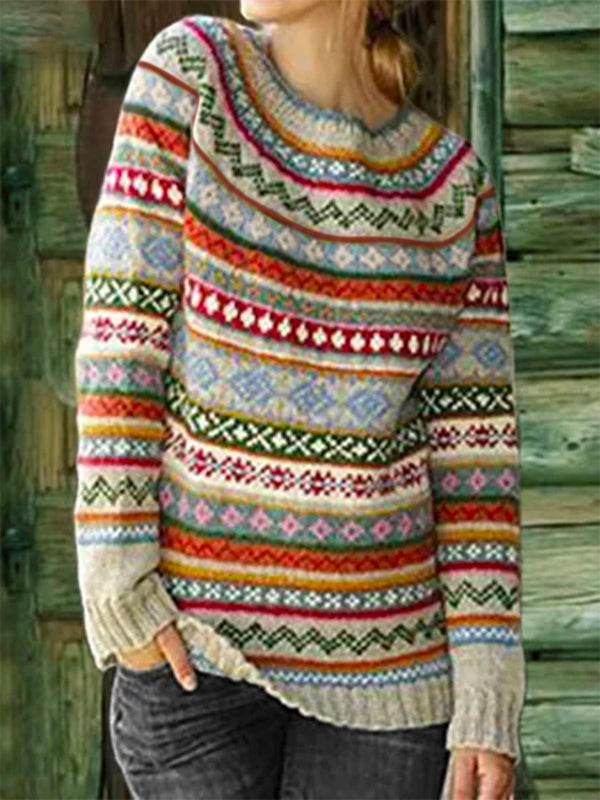 Color-Block Crew Neck Long Sleeve Geometric Sweater - chiclila.com