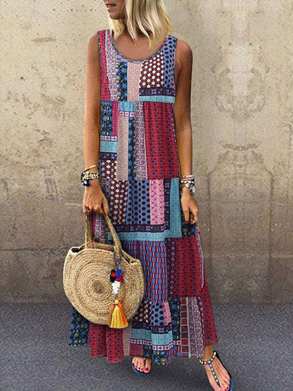 Crew Neck Printed Patchwork Maxi Dresses