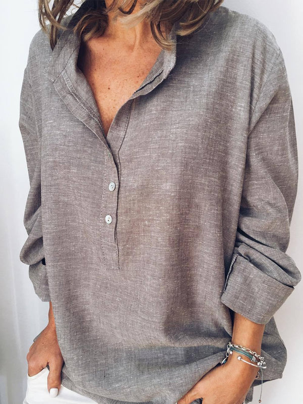 Linen Long Sleeve Buttoned Casual Tops