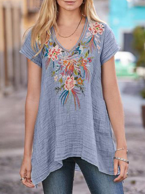 Blue Gray Cotton-Blend Short Sleeve Patchwork Shirts & Tops - chiclila.com
