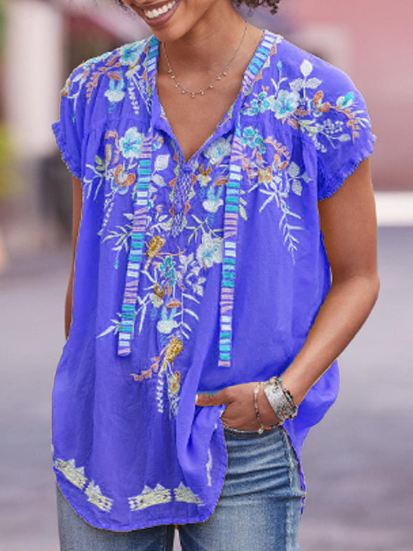 Women Summer Floral  V Neck Shirts & Tops