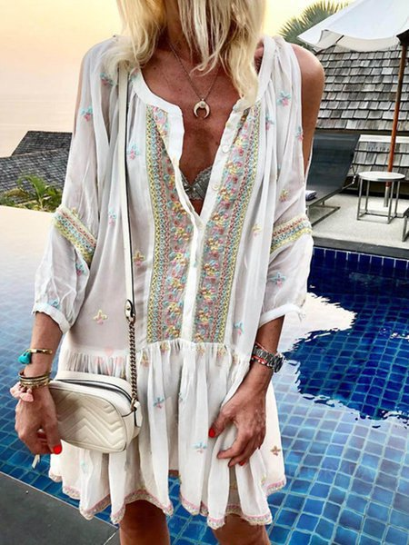 Off Shoulder Women Summer Dresses Shift Holiday Patchwork Dresses