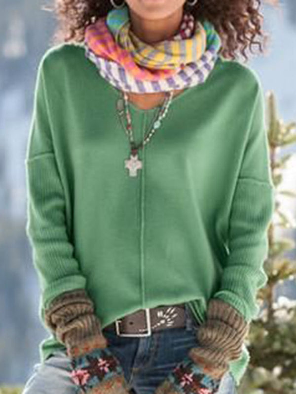 Womens Fall Clothing Green Knitted Simple Shirts & Tops - chiclila.com