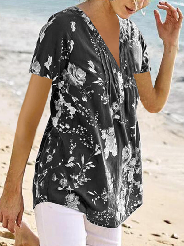 Cotton-Blend Short Sleeve V Neck Casual Shirts & Tops