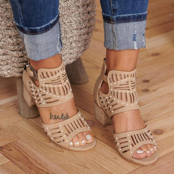 Women Cut-out Slip-on Stylish SHeel Booties Shoes
