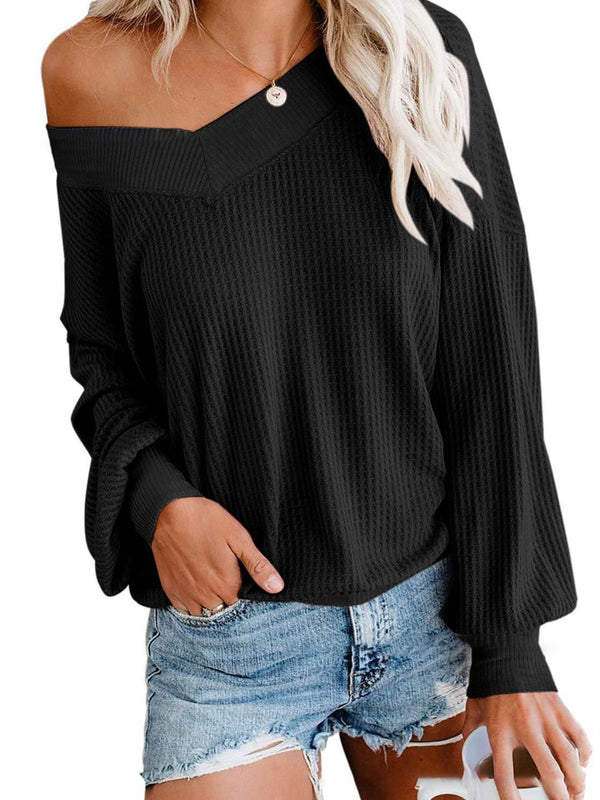 V Neck Long Sleeve Waffle Knit Top Off Shoulder Pullover Sweater