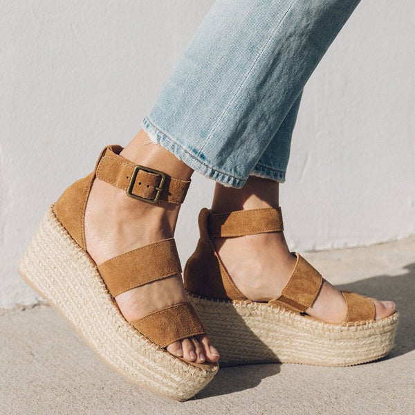 Adjustable Ankle Strap Beach Wedge Sandals