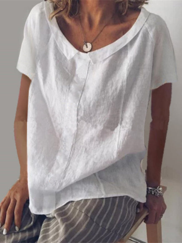 Cotton Solid Casual Short Sleeve Shirts & Tops - chiclila.com
