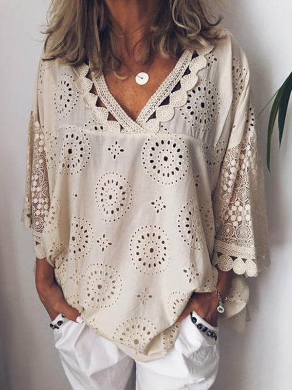 Women Cutout Blouse T Shirt Tunic Tops - chiclila.com