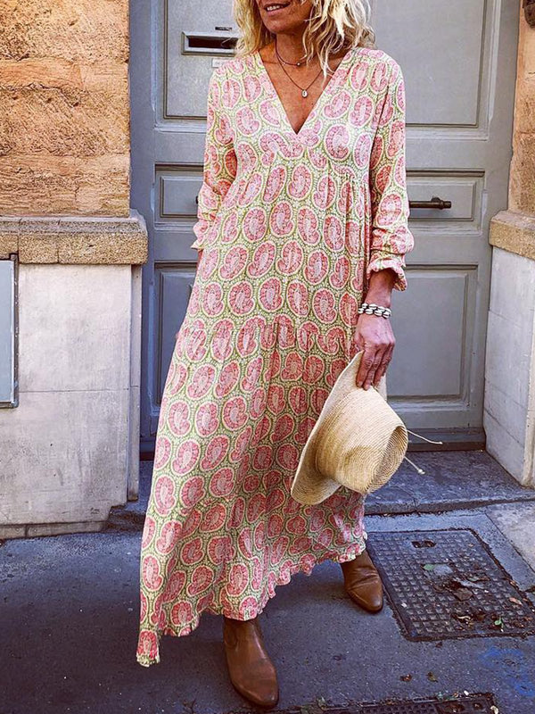 V Neck Pink Women Dresses Holiday Floral Dresses - chiclila.com