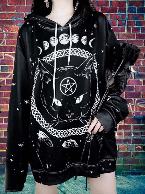 Black Long Sleeve Abstract Printed Outerwear