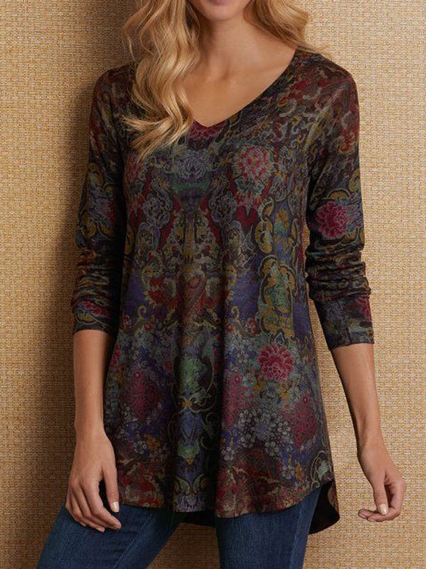 Women Long Sleeve Boho V Neck Plus Size Tops - chiclila.com