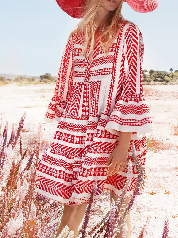 Bell Sleeve Cotton Casual Tribal Vacation Dresses - chiclila.com