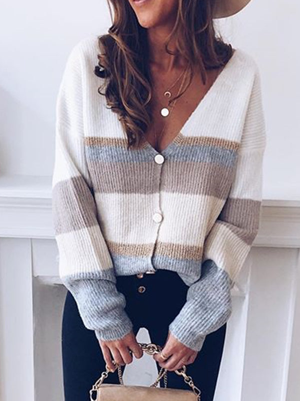 Long Sleeve V Neck Color-Block Sweater - chiclila.com