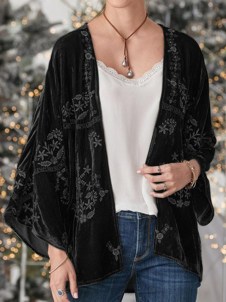 Casual Floral Cotton-Blend Outerwear