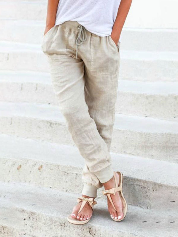 Solid Drawstring Casual Linen Pants Women Trousers - chiclila.com
