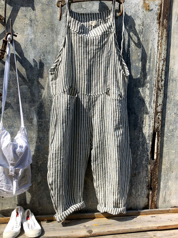 Vintage Black Gray Linen Stripes Pants Romper Jumpsuits - chiclila.com