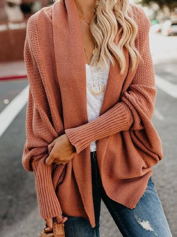 Knitted Long Sleeve Solid Sweater