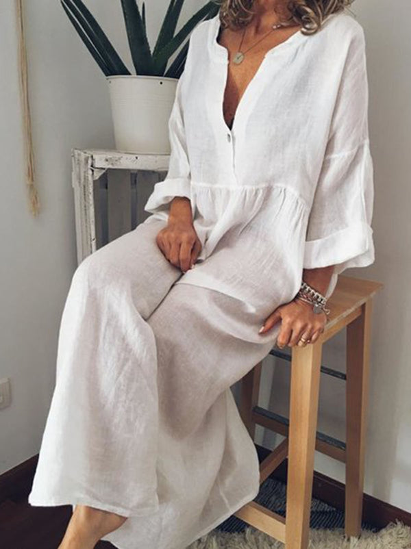 Solid Long Sleeve Linen Maxi Dresses - chiclila.com