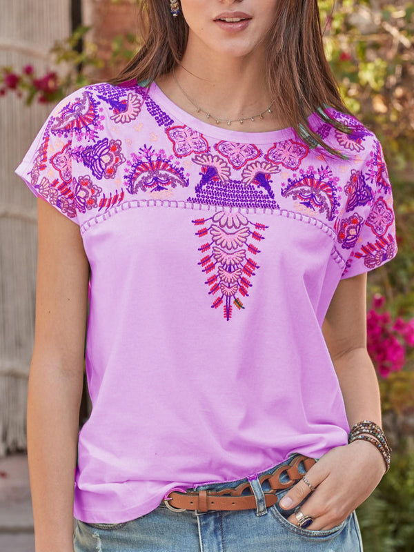 Short Sleeve Crew Neck Casual Shirts & Tops - chiclila.com