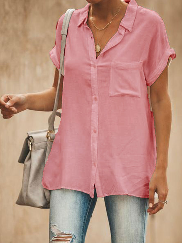 Summer Daily V Neck Short Sleeve Loose Blouse - chiclila.com