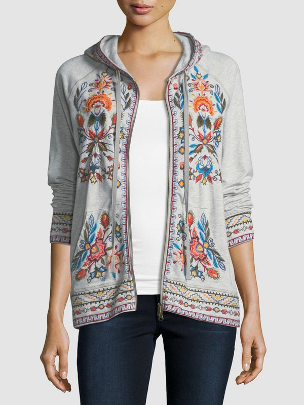 Plus Size Casual Hoodie Long Sleeve Printed Outerwear