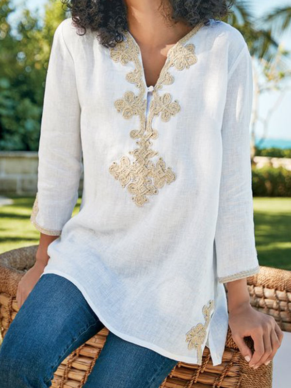 Casual V-neck Floral-print Long Sleeve Blouse - chiclila.com