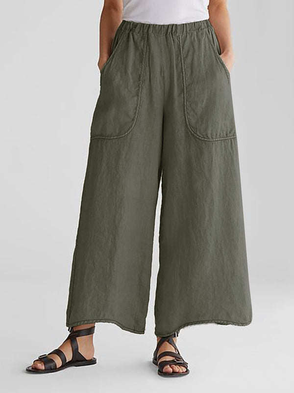 Women Casual Linen Pants Soild Plain Pockets Cotton Bottoms
