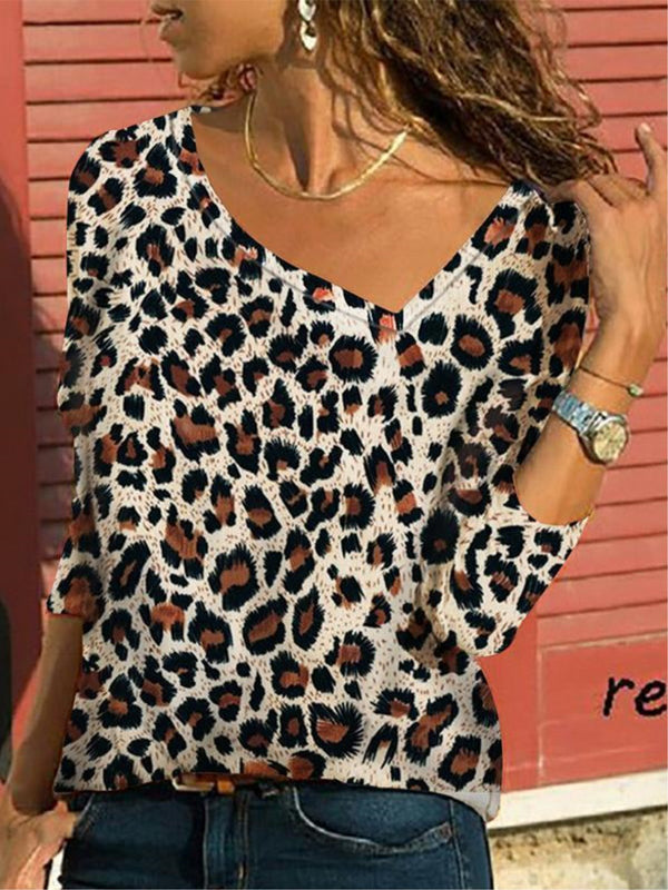Plus Size Leopard Print Boat Neck Casual Long Sleeve Shirt