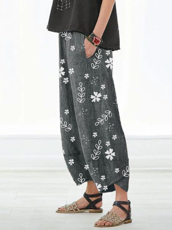 Casual Floral Printed Pockets Women All Season Pants - chiclila.com