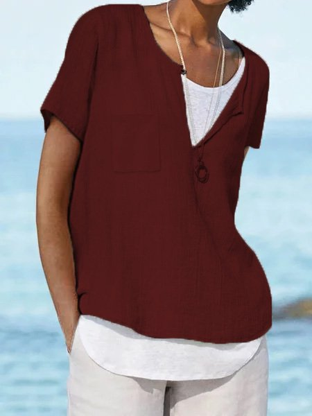 Short Sleeve Cotton-Blend  Blouses