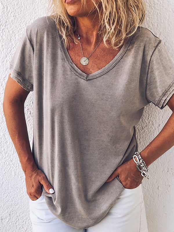 Short Sleeve Paneled Cotton Casual T-Shirts - chiclila.com