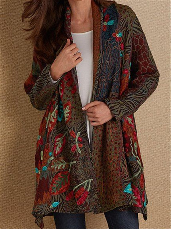 Autumn Casual Vintage Basic Printed Long Coat