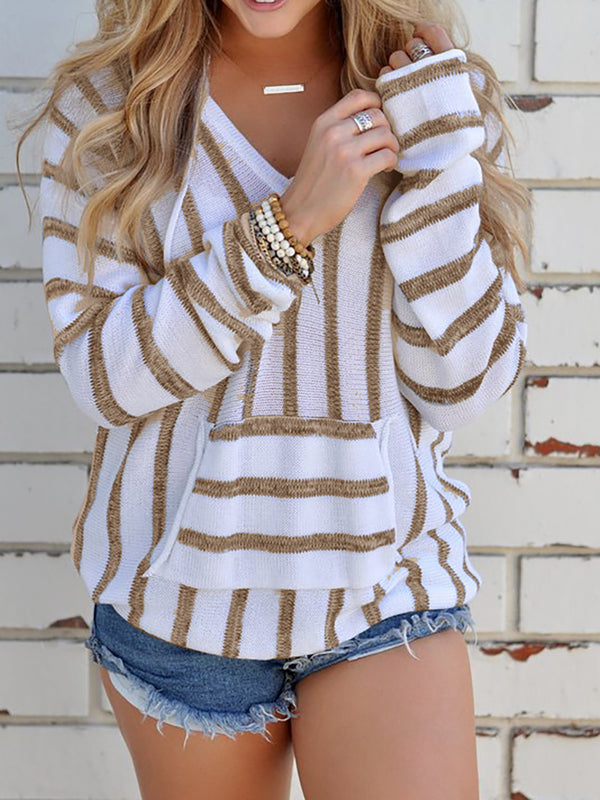 Khaki Pockets Polyester Long Sleeve H-line Sweater