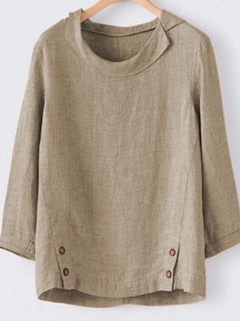 Casual 3/4 Sleeve Buttoned Shirts & Tops - chiclila.com