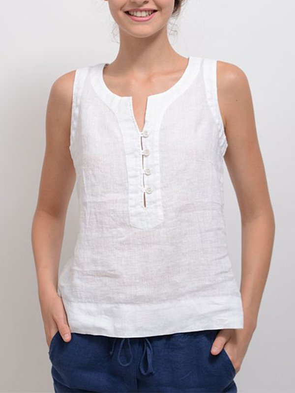 Casual Sleeveless Solid Plus Size Tops - chiclila.com