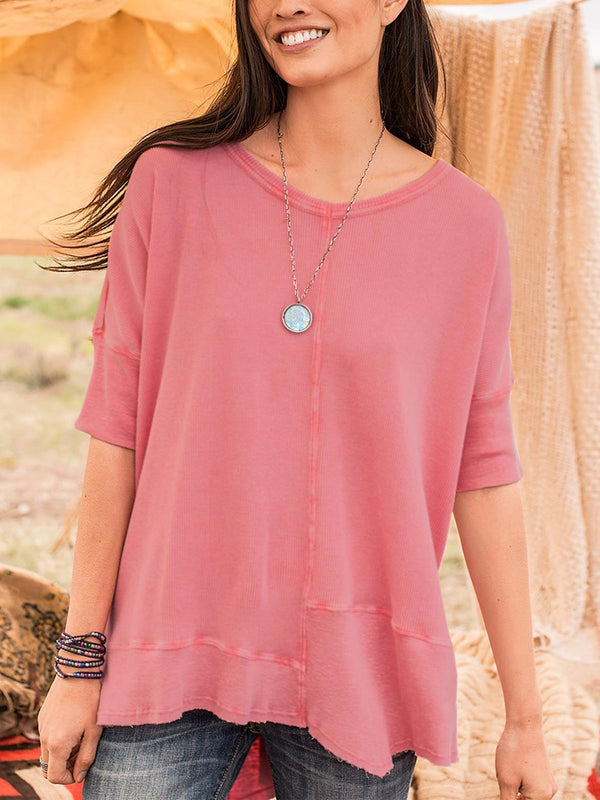 Women  Round Neck Half Sleeve Solid  Casual Top - chiclila.com
