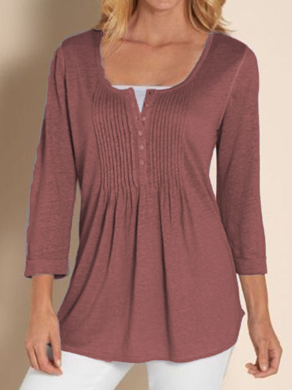Casual Gathered Long Sleeve Shirts & Tops - chiclila.com