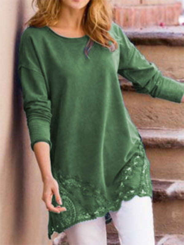 Embellished Cutout Holiday Crew Neck Long Sleeve Tops